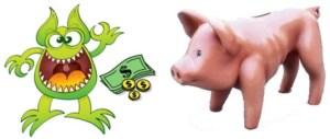 El dinero encoje (el cerdito se ha quedado en los huesos) y el monstruo que se lo come se llama inflación