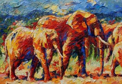Olifanten op weg naar het water1 70x100