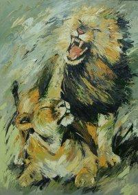 Parende leeuwen 140x100