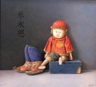 Oud Chinees speelpopje en laarsjes 60 x 65