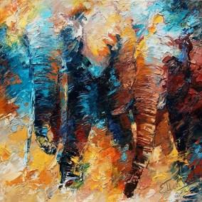 Abstractie olifanten 100x100