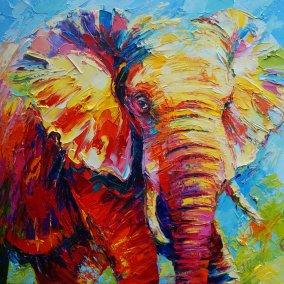 collorfull elephant  110 x 110