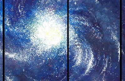 """Spiral Galaxy,"" painting by Mary Wojnar"