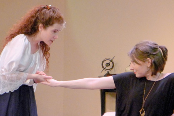 Aphra Behn (J Benway) and Nell Gwyn (Shannon Agostinelli) in Or,
