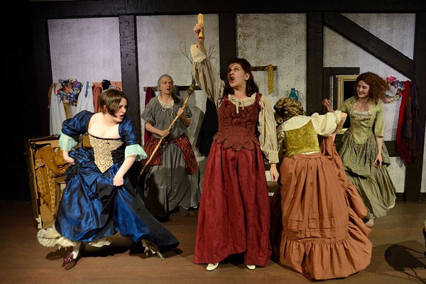 Dana Winter, Lanita Grice, Heather Christopher, Kate Ayers and Jesse Morrow in Playhouse Creatures