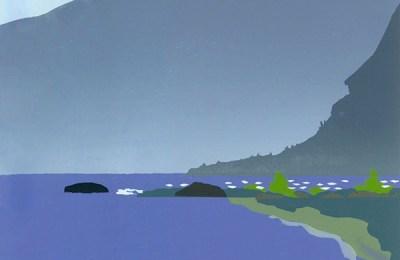 """Mountain Lake,"" screen print by Sherry Buckner"