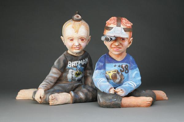 """""""Tech Twins,"""" stoneware and mixed media by Joe Batt"""