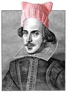 William Shakespeare in a pink, knitted cap