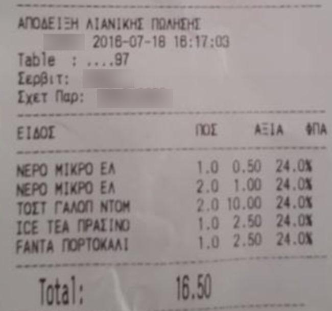 Η αποδειξη απο ελληνικο νησι που σαρωνει 2 τοστακια 10 ευρω