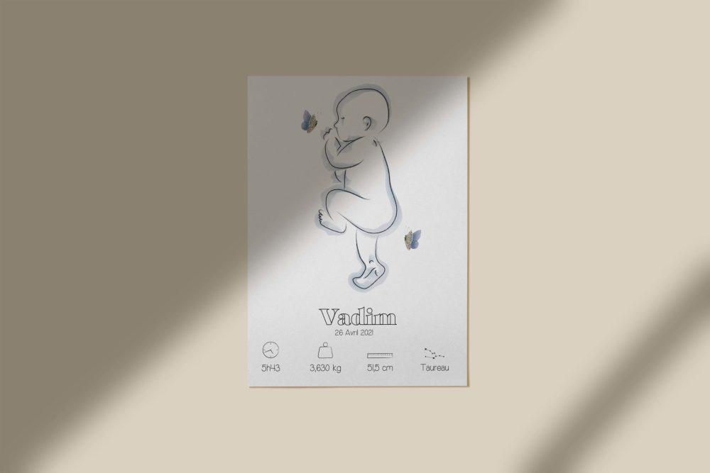 Affiche naissance personnalisée à imprimer 2