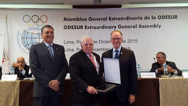 Jose Quinones Gonzalez – President of the National Olympic Committee of Peru and Vice President of ODESUR Steve Stoute, SCM and Carlos Nuzman – President of ODESUR and Chairman, Organizing Committee, RIO 2016 Olympic Games