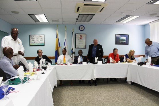 Olympic Champion Christian Taylor visits BOA in Barbados for lunch