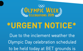 BOA Olympic Day Event Postponed