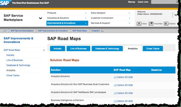 SAP Roadmaps for Analytics