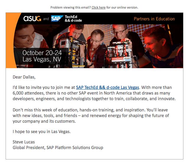 SAP TechEd Letter from Steve Lucas