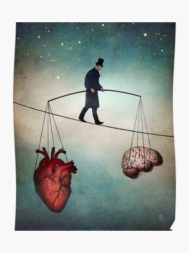 homme qui marche sur le fil de la vie penchant entre le coeur et la raison