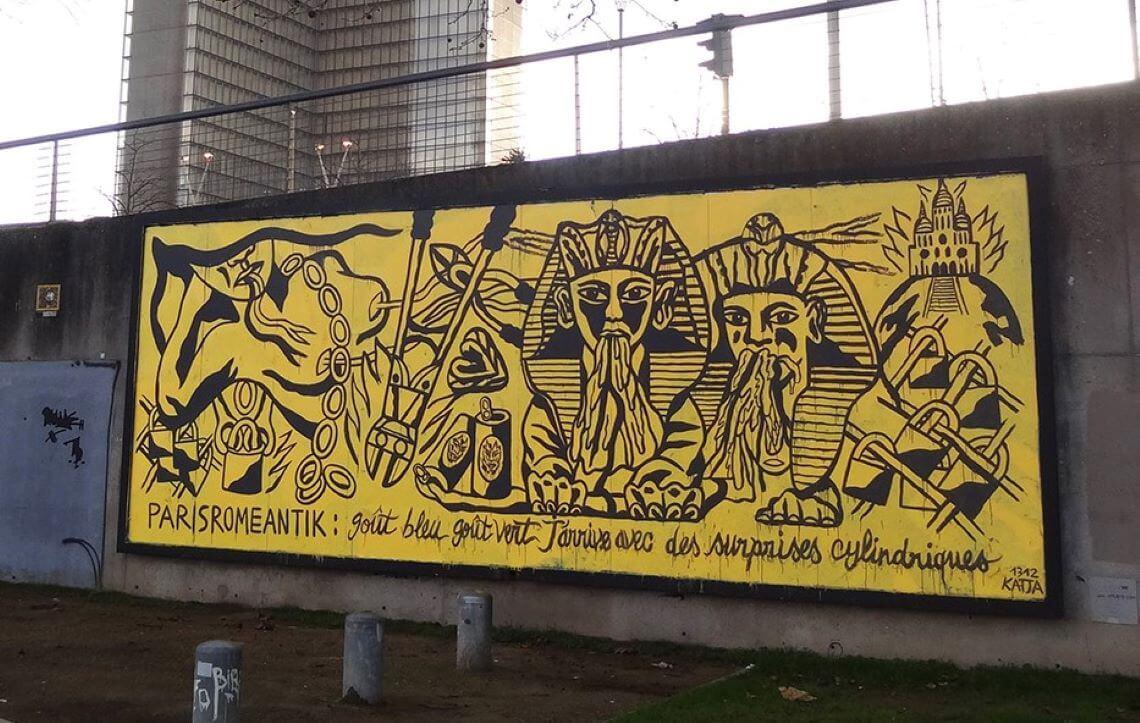 Fresque Murale de Katja : J'arrive avec des surprises cylindriques, Le MUR XIII, 2019.