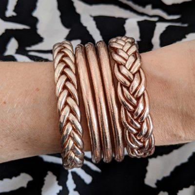 Bracelets joncs bouddhiste doubles tresses - coloris champagne - Maia&Zoé