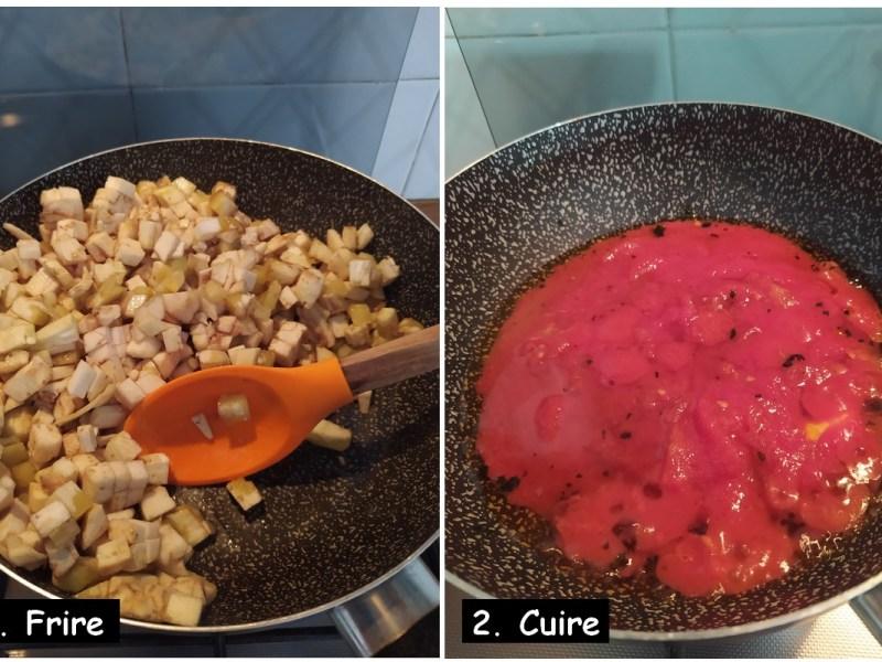 Aubergines farcies - frire et préparer la sauce tomate.