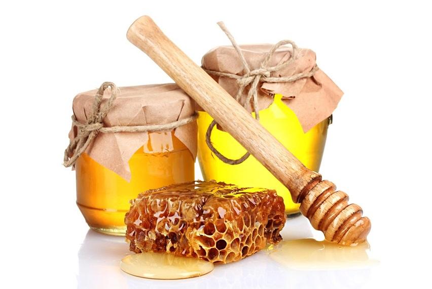 Pots de miel avec baton de bois pour miel et morceau de ruche
