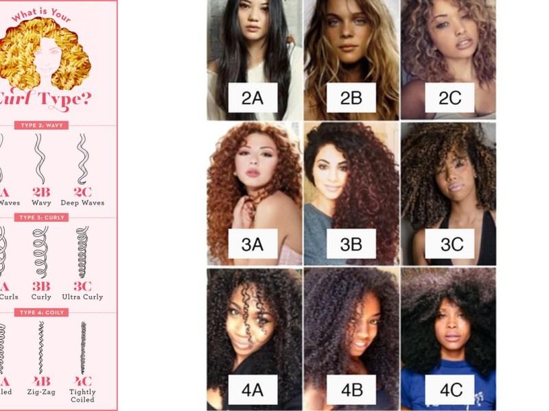 Différents types de cheveux bouclés.