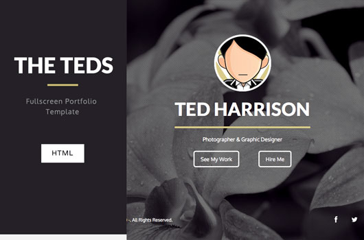 The Teds Simple Fullscreen Portfolio Template (HTML/CSS) - Free!