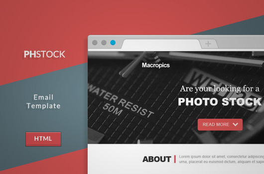 Free PSD and HTML Email: PHStock Template