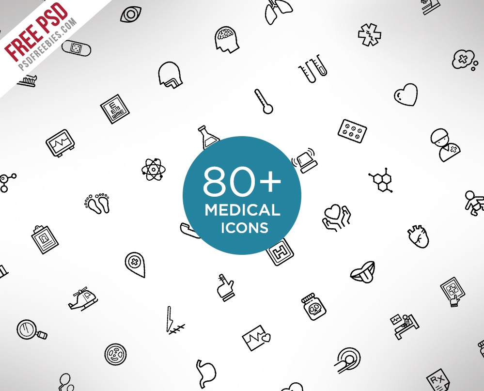 80+ Medical and Science Outline Icons (PSD)