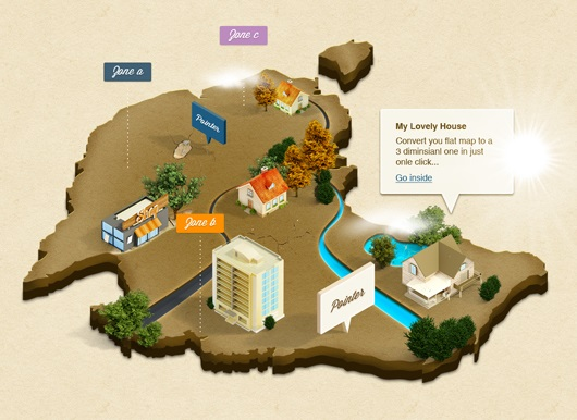 3D Isometric Map Mockup (Psd, Action)
