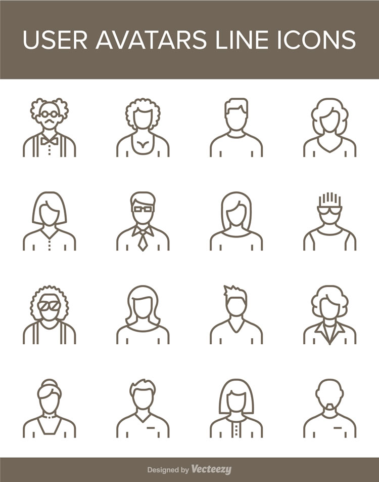 Free User Avatars Line Icons