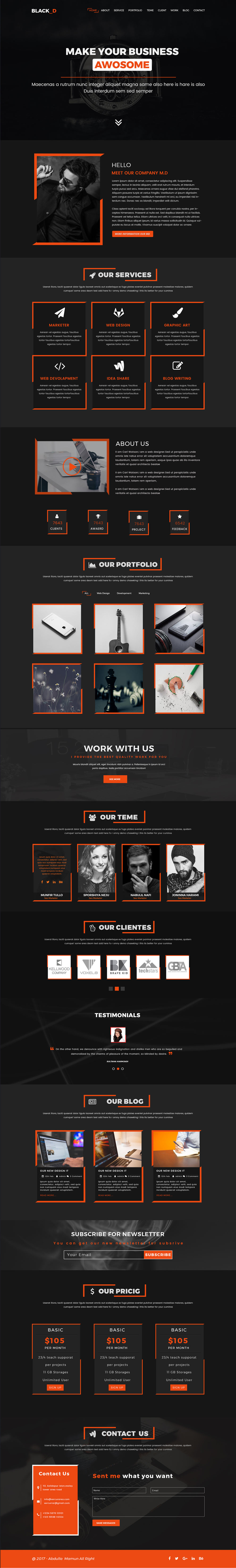 The Black Done One Page Portfolio PSD