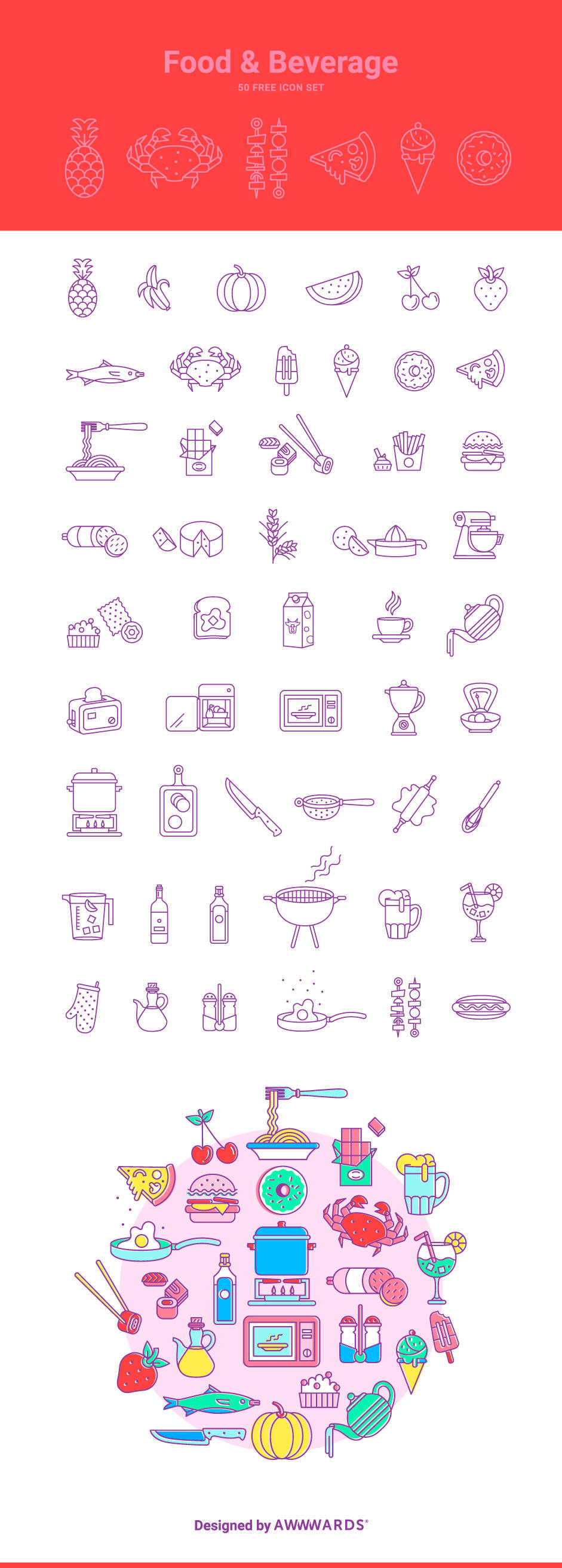50 Delicious Food and Beverage Vector Icons