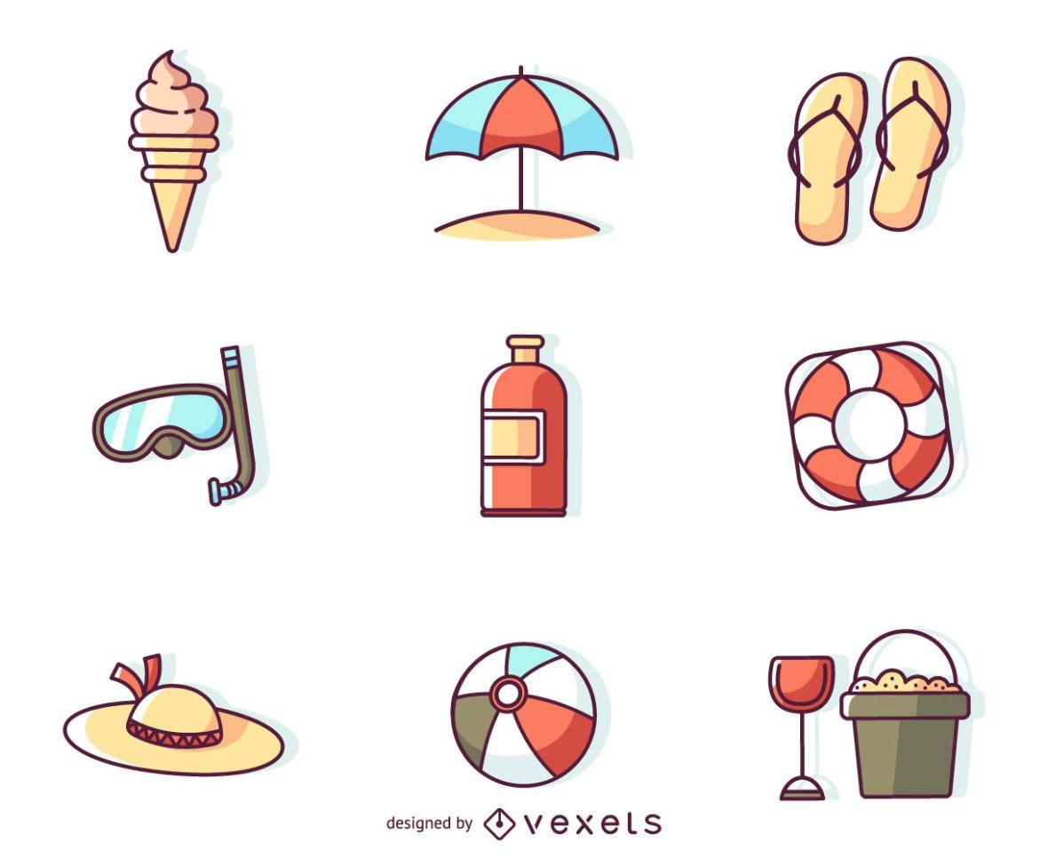 Flat Stroke Summer Icons