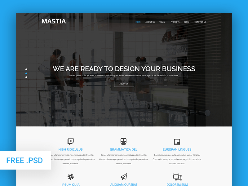 Mastia - Multipurpose Business Web Template (Free PSD)