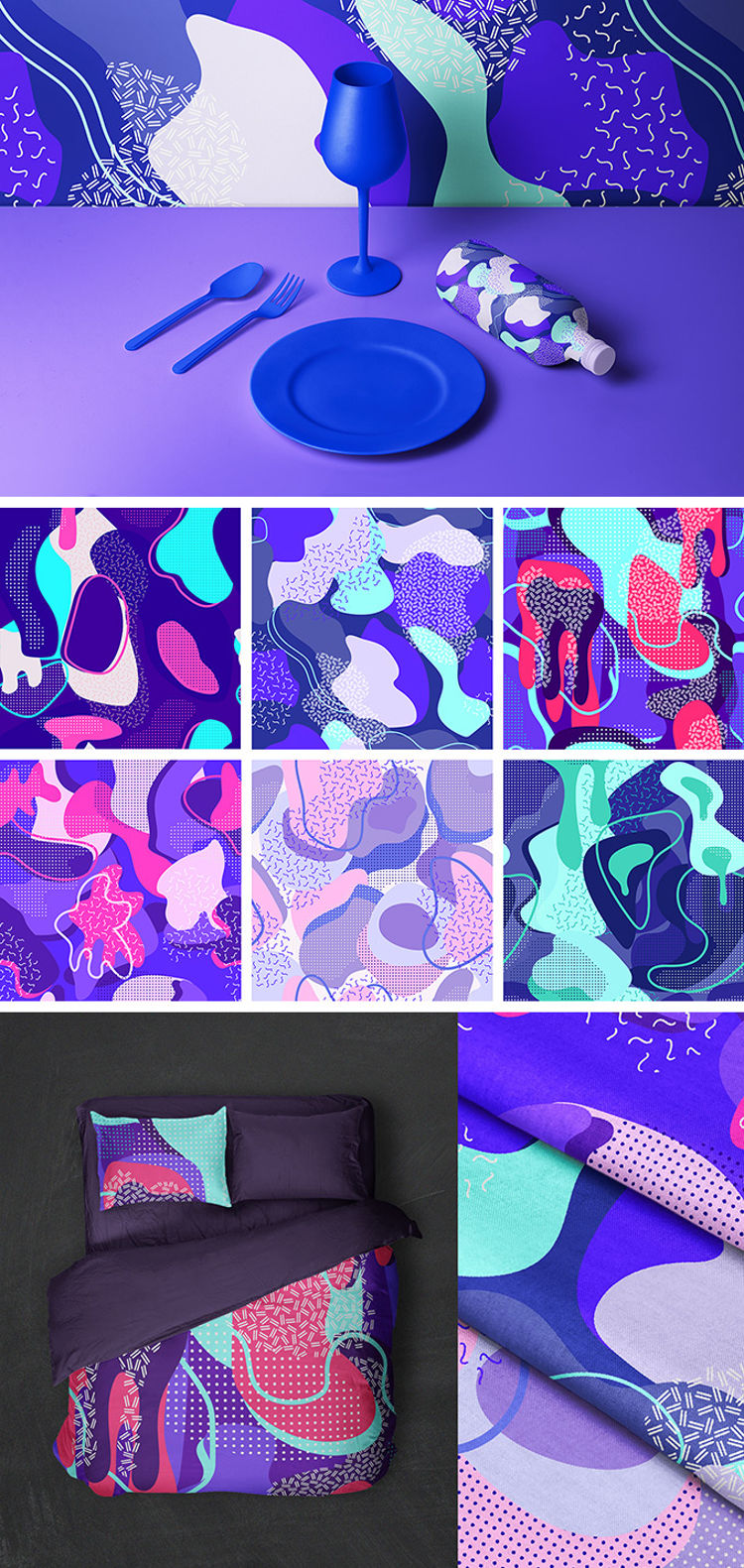 Free Mint & Lavender Vector Patterns