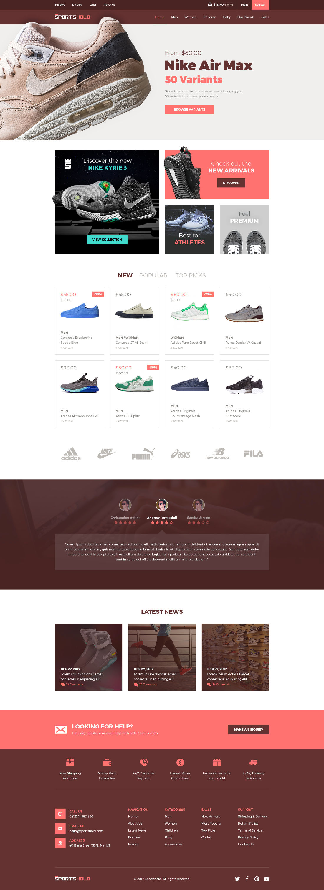 Free Sportshold eCommerce Landing Page