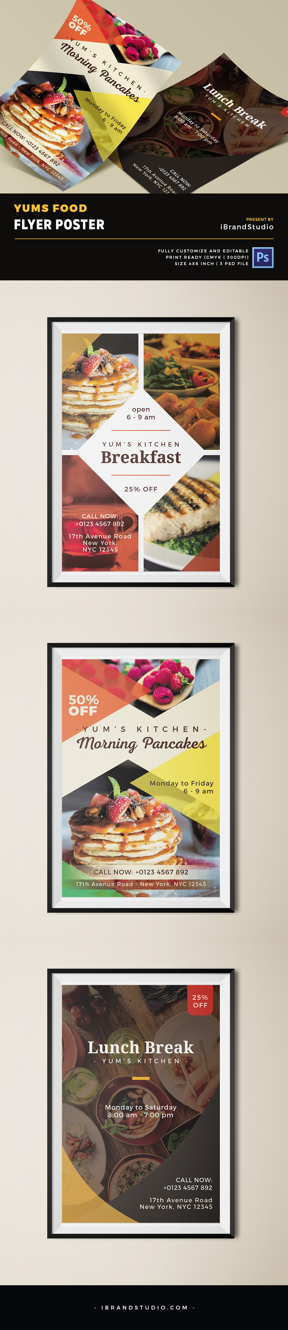 Yums Food Flyer Template Omahpsd