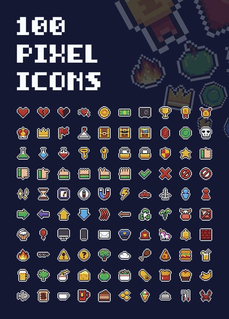 Free 100 Pixel Icons