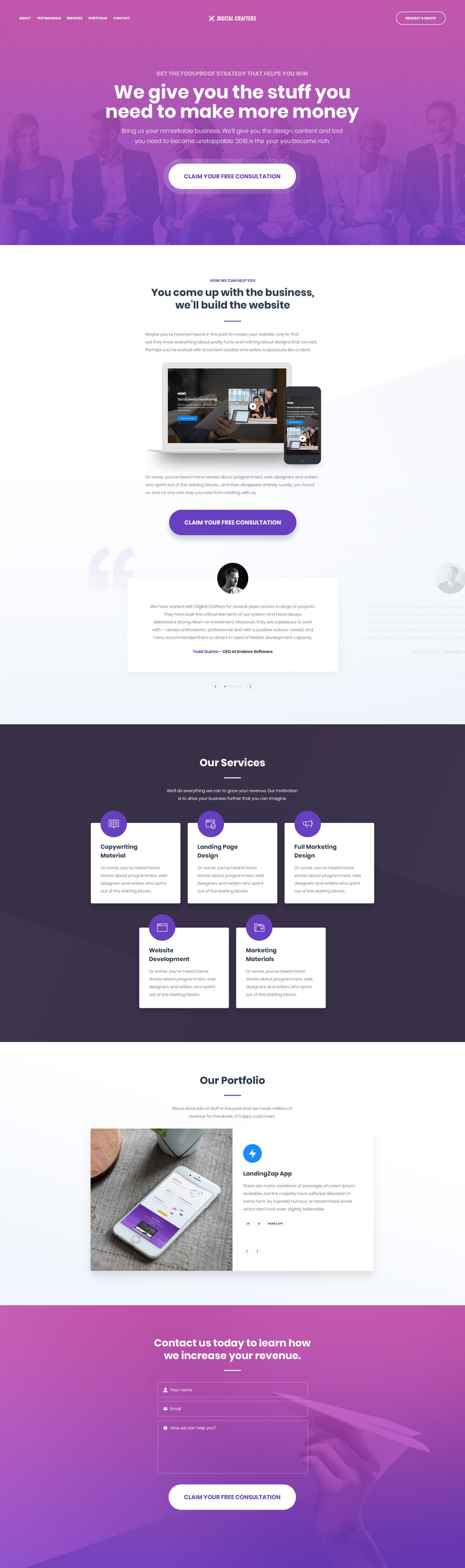 Digital Crafters Free Landing Page Psd Template Omahpsd