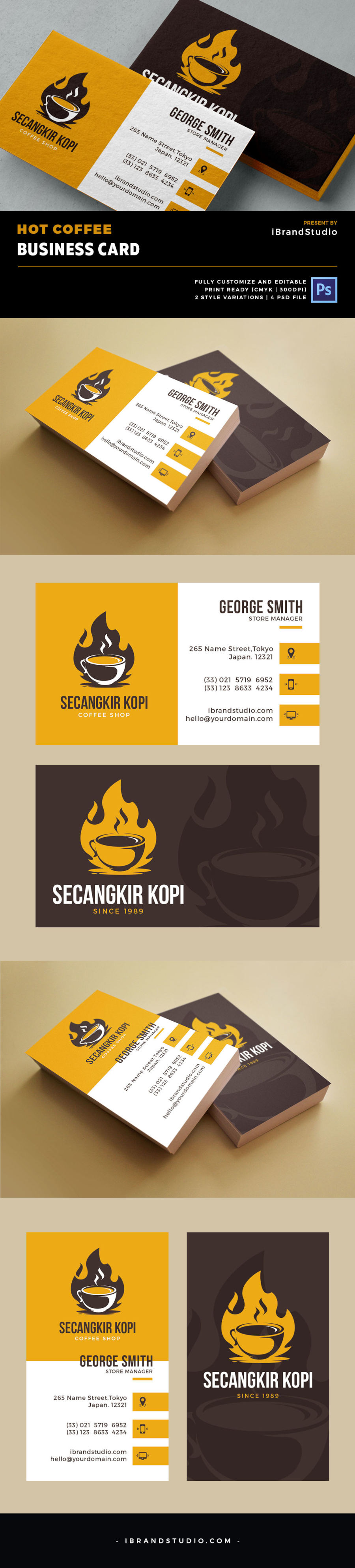 Free Hot Coffee Business Card Template