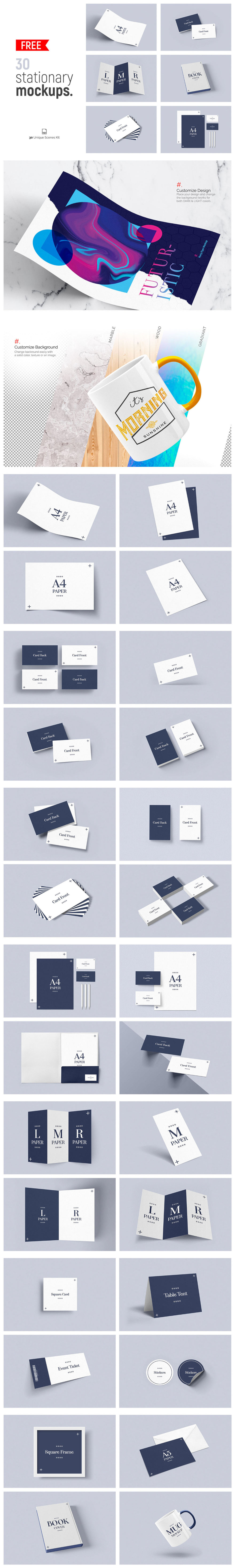 30 Free Stationery Mockups Full Preview