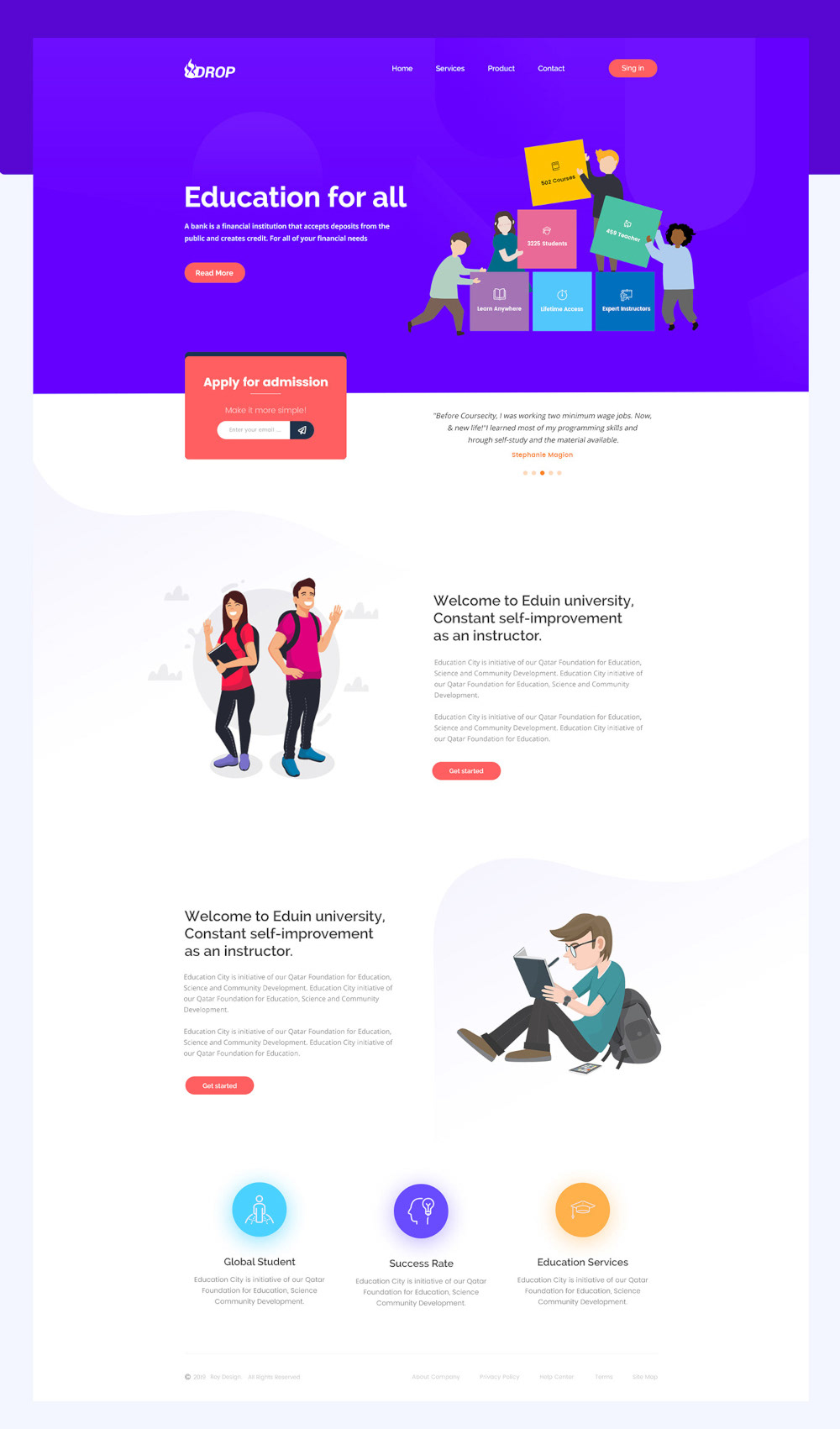 Free Drop Education Website Template Preview