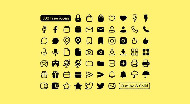 Basil: 500 Free Vector Icons (Solid & Outline) preview 2
