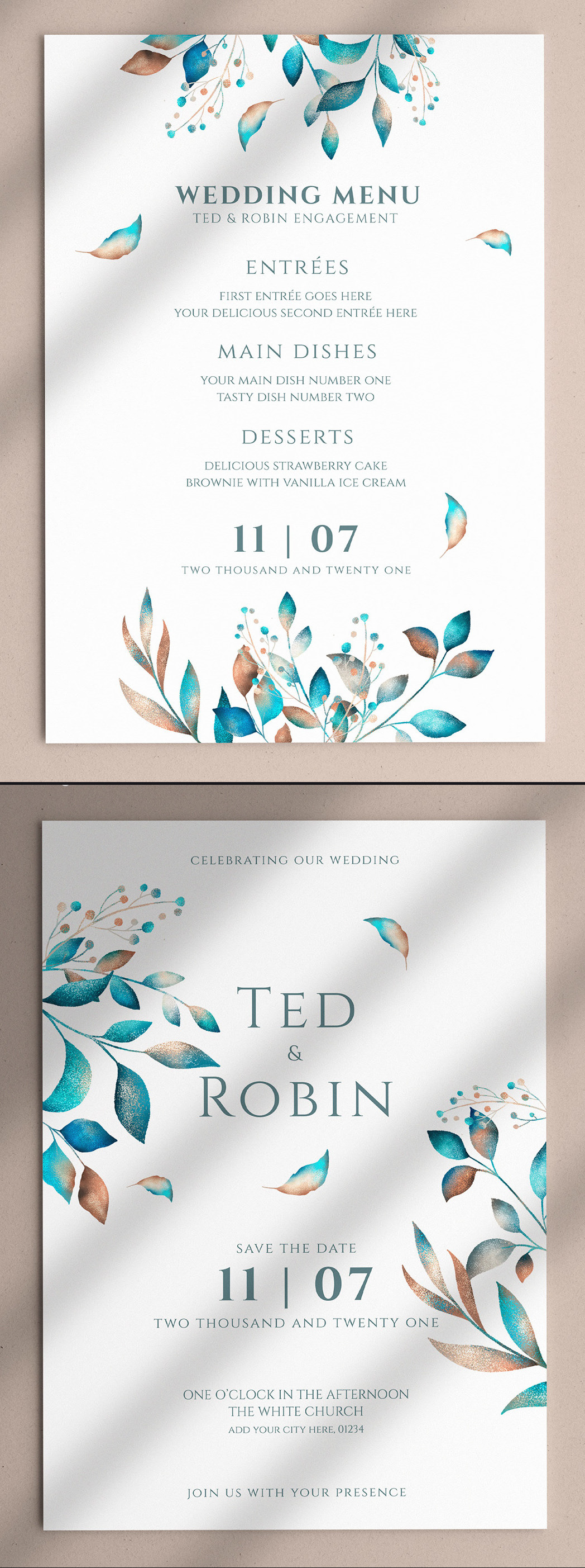Floral Wedding Invitation & Menu PSD Template - Preview