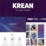 Krean – Free One Page Template (PSD, HTML)