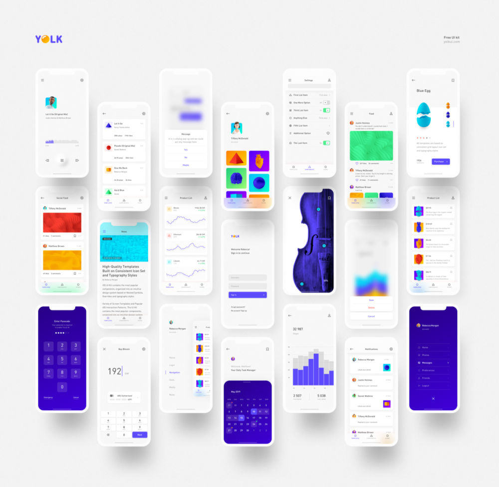 Free iOS UI Kit - Yolk - Preview