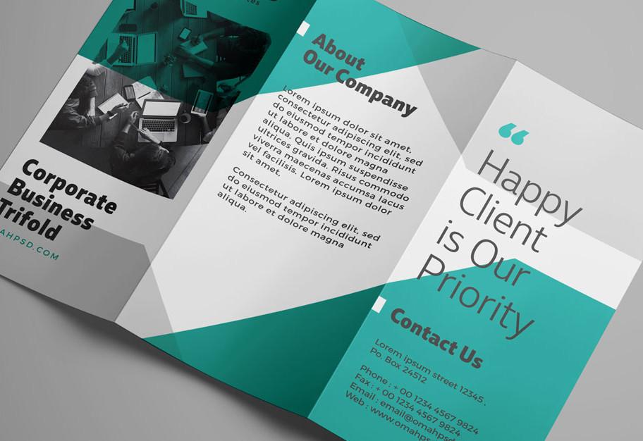 Free Blue Corporate Trifold Brochure (PSD, PDF, EPS)