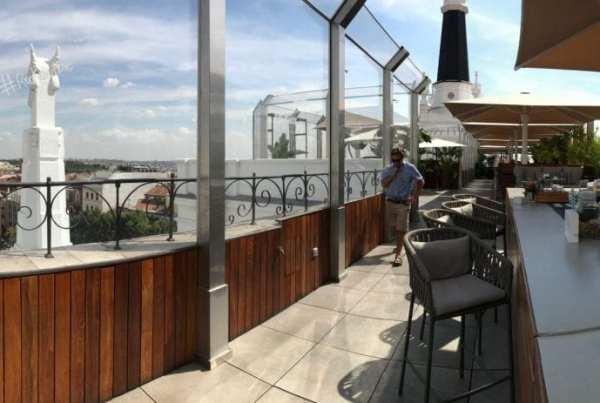 Radio rooftop bar on top of ME Madrid Reina Victoria