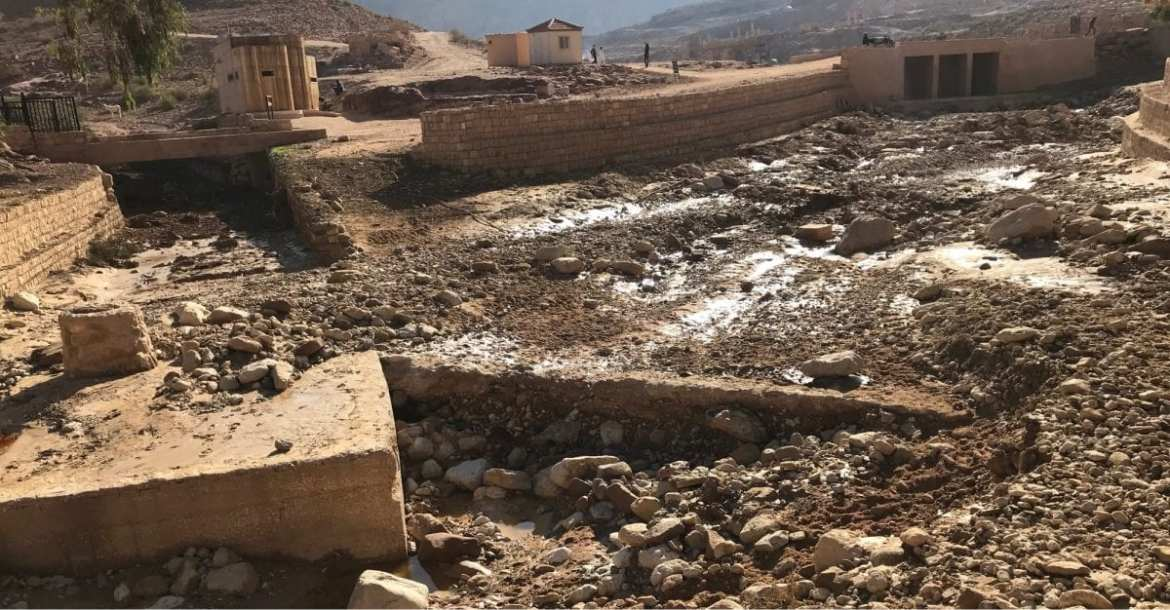Damage after flash floods at Petra along the Jordan Trail
