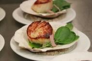 Scallop Brulee, Cress, Olive OIl, Pickled Shallot